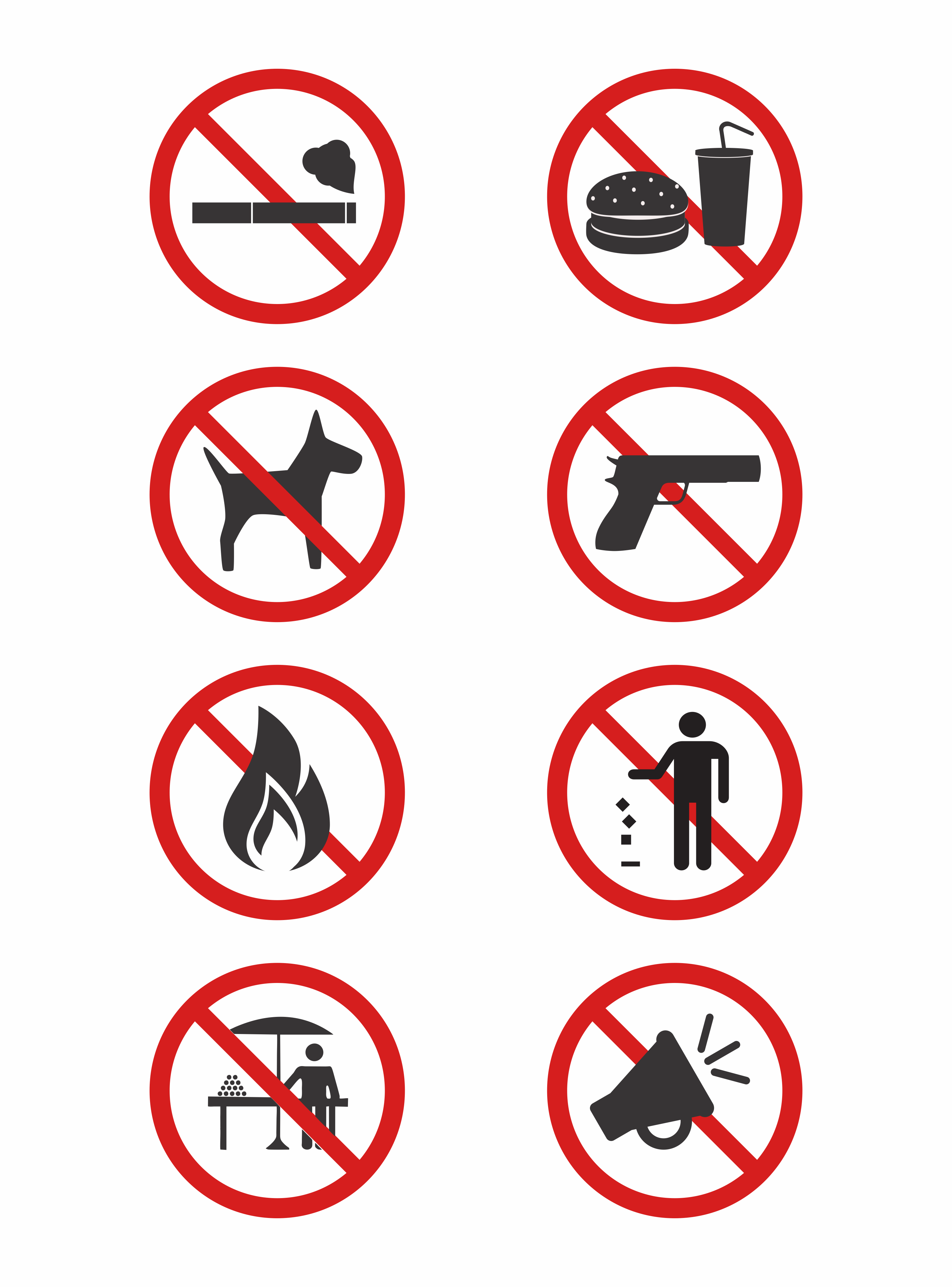 A collection of prohibited warning signs