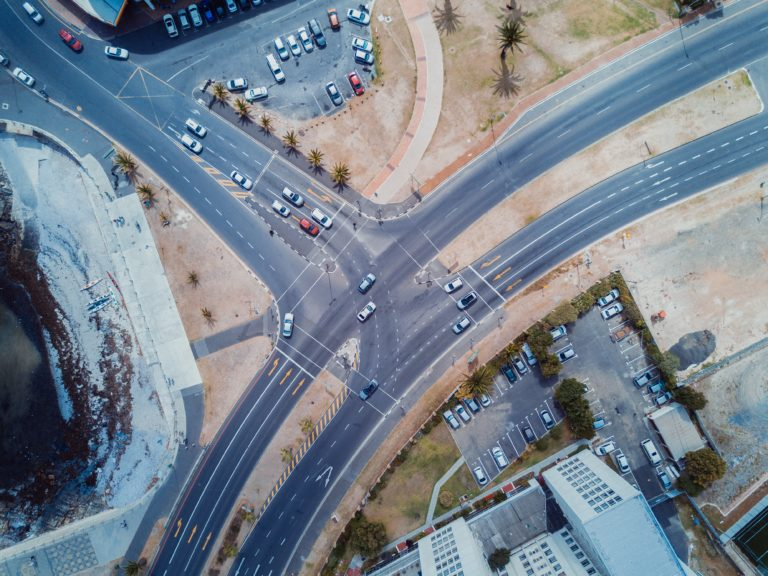 aerial view of roads with traffic