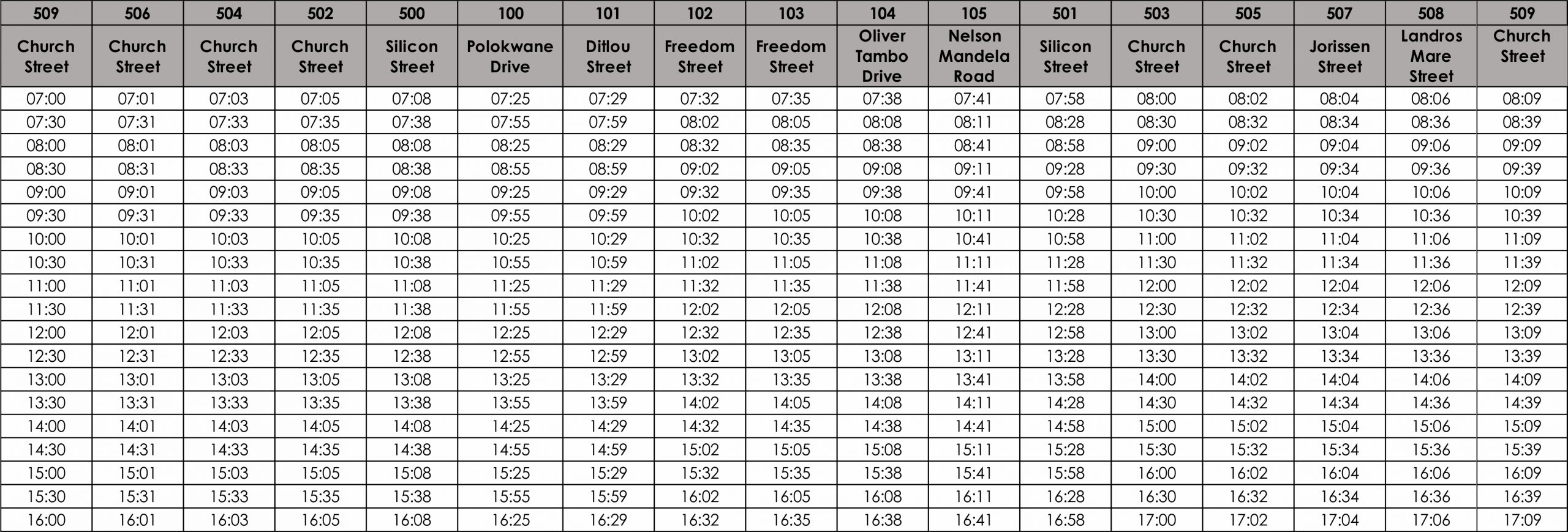 TE5B Saturday timetable