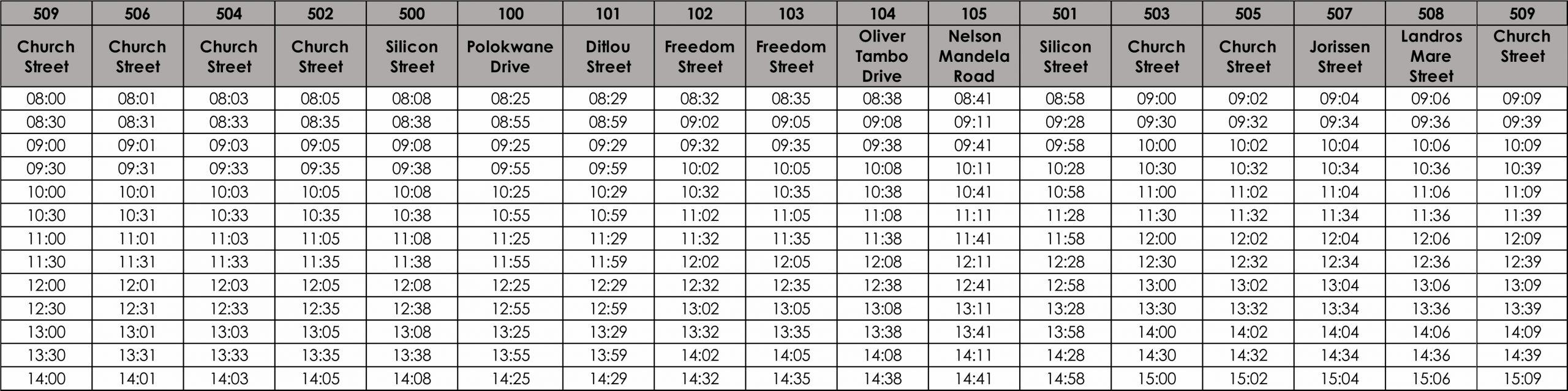 TE5B Sunday timetable